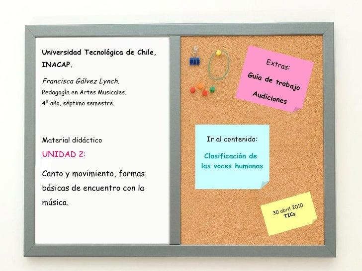 Ir al contenido: Clasificación de  las voces humanas Material didáctico UNIDAD 2:  Canto y movimiento, formas básicas de e...