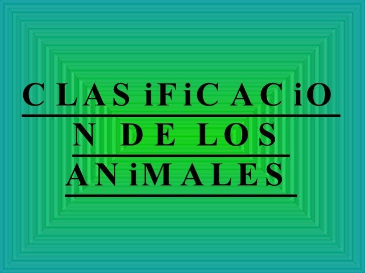 Clasificando los animales