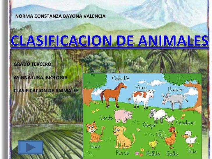 NORMA CONSTANZA BAYONA VALENCIA GRADO TERCERO ASIGNATURA: BIOLOGIA CLASIFICACION DE ANIMALES