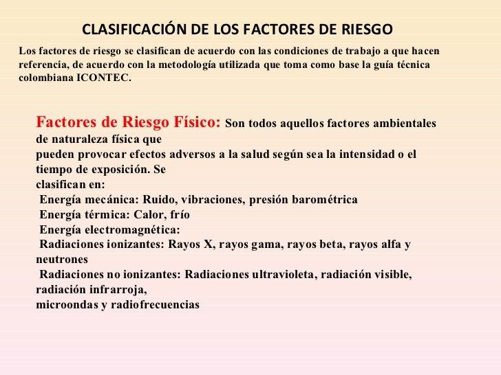 Clasificacion de los factores de riesgos