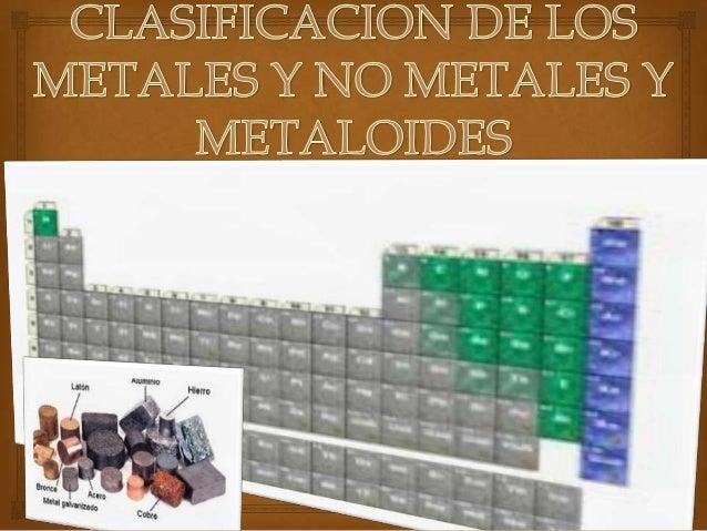 Clasificacion de los metales y no metales