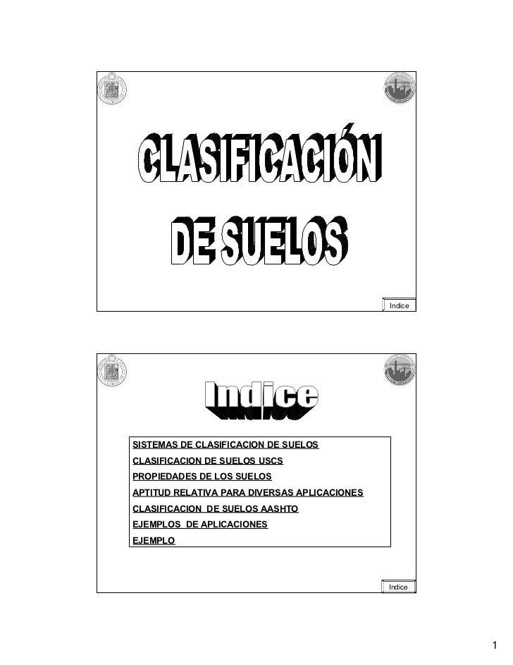 IndiceSISTEMAS DE CLASIFICACION DE SUELOSCLASIFICACION DE SUELOS USCSPROPIEDADES DE LOS SUELOSAPTITUD RELATIVA PARA DIVERS...