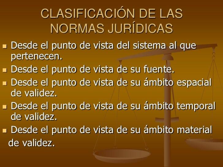 CLASIFICACIÓN DE LAS         NORMAS JURÍDICAS Desde el punto   de vista del sistema al que  pertenecen. Desde el punto  ...