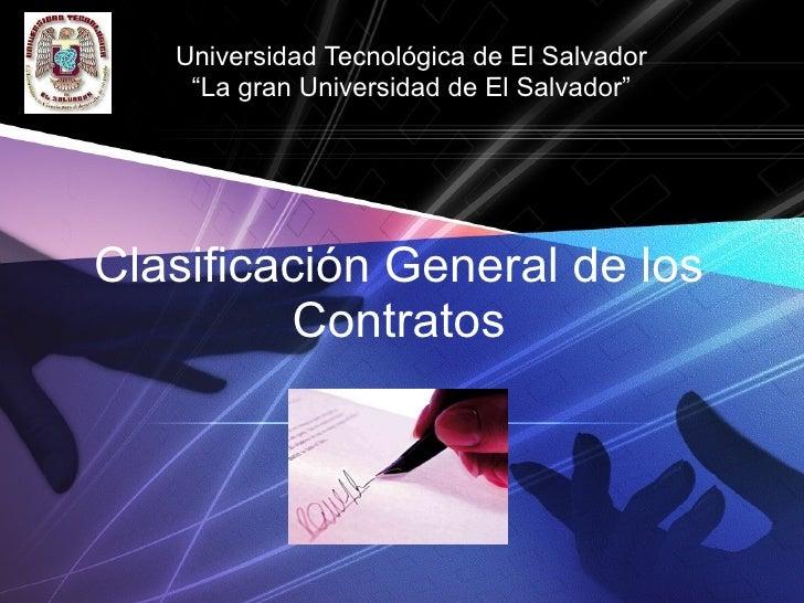 Clasificacion General De Los Contratos