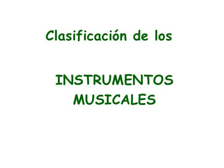 Clasificacion Instrumentos Musicales