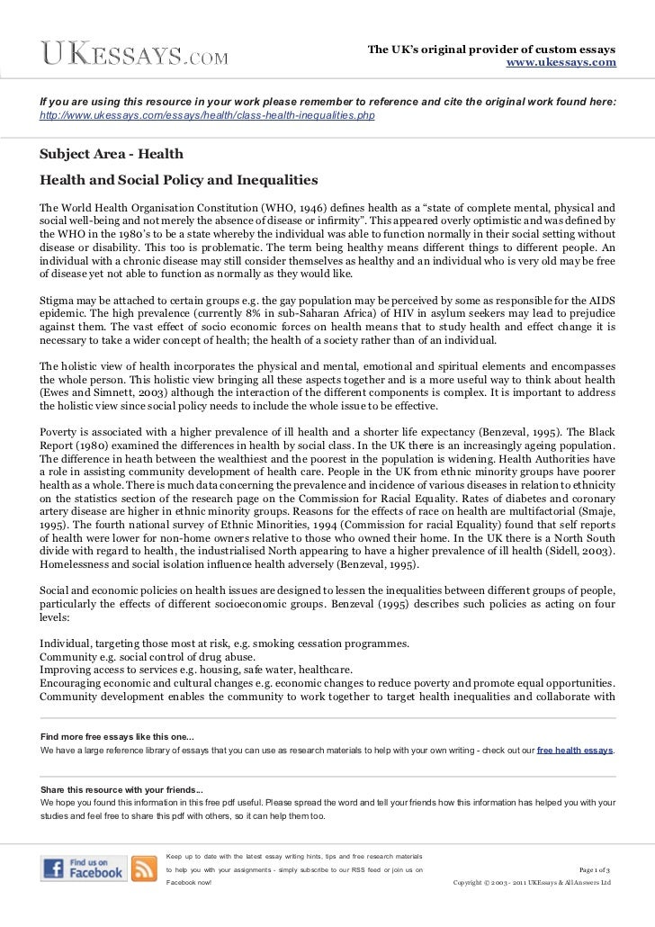 essays on health inequalities Essays on gender and health carla medalia, university of pennsylvania abstract the relationship between gender and health is complex although women live longer.
