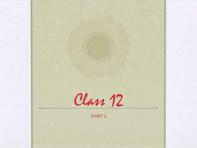 Class 12  EWRT 2