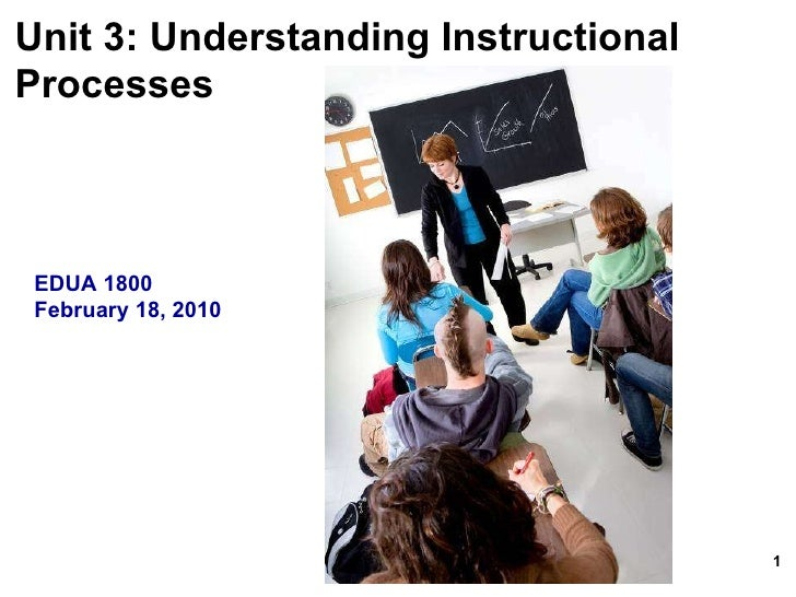 Unit 3: Understanding Instructional  Processes   EDUA 1800 February 18, 2010