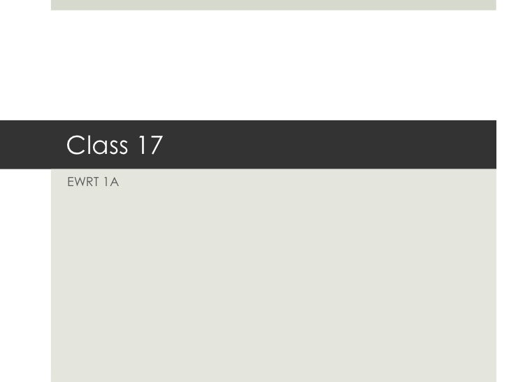 Class 17EWRT 1A