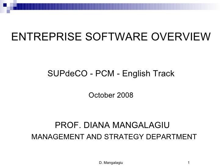 <ul><li>ENTREPRISE SOFTWARE OVERVIEW </li></ul><ul><li>SUPdeCO - PCM - English Track </li></ul><ul><li>October 2008 </li><...