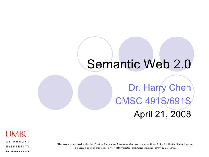 Semantic Web 2.0 Dr. Harry Chen CMSC 491S/691S April 21, 2008
