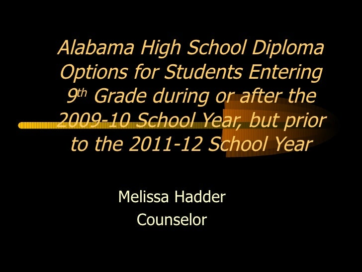 Melissa Hadder Counselor Alabama High School Diploma Options for Students Entering 9 th  Grade during or after the 2009-10...