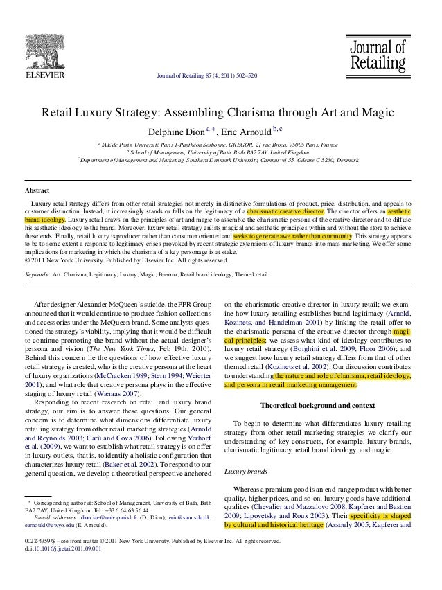 Journal of Retailing 87 (4, 2011) 502–520  Retail Luxury Strategy: Assembling Charisma through Art and Magic Delphine Dion...
