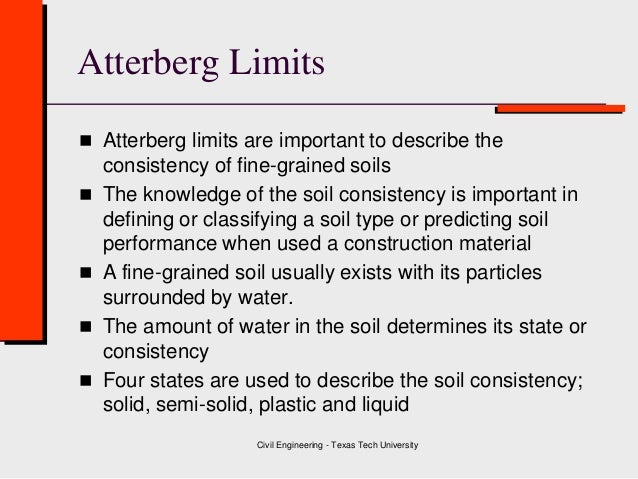 Class 3 a soil plasticity atterberg limits for Soil uses and its importance
