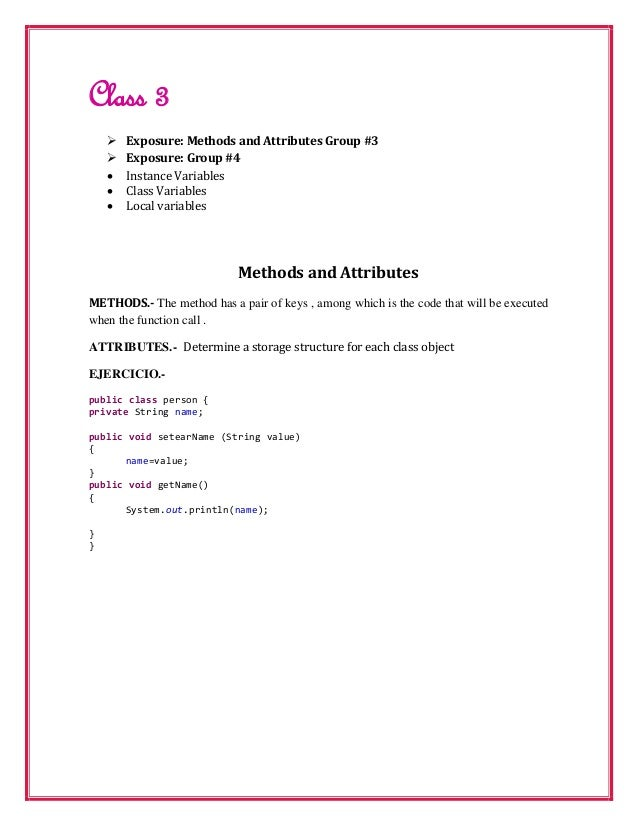 Class 3       Exposure: Methods and Attributes Group #3       Exposure: Group #4       Instance Variables       Class ...