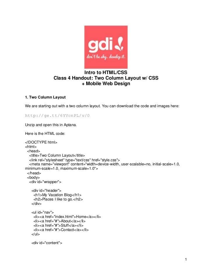 Class 4 handout two column layout w mobile web design