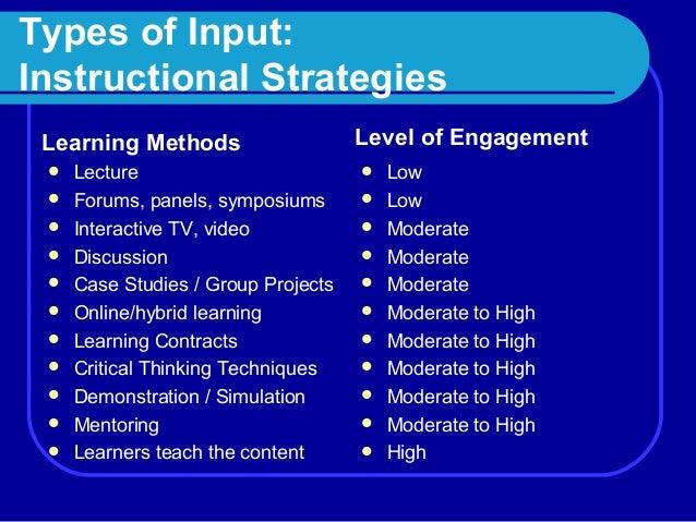 Categories Of Instructional Strategies Expert User Guide
