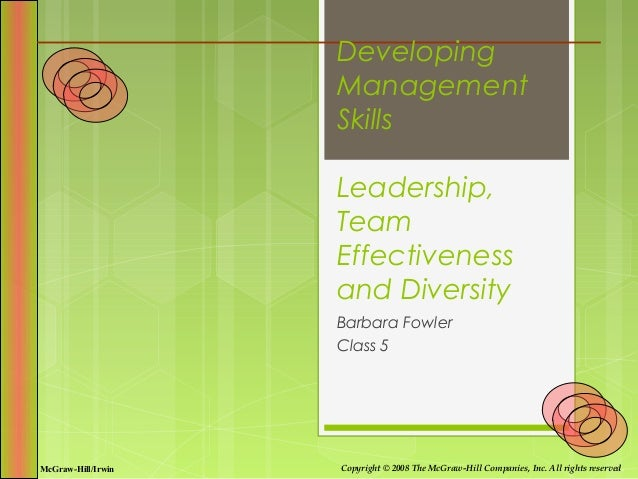 Developing                    Management                    Skills                    Leadership,                    Team ...