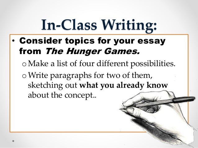 writing the in class essay The modes of discourse—exposition, description, narration, argumentation (edna)—are common paper assignments you may encounter in your writing classes although.