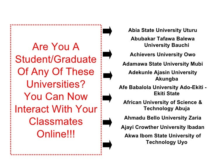 Are You A Student/Graduate Of Any Of These Universities? You Can Now Interact With Your Classmates Online!!! Akwa Ibom Sta...
