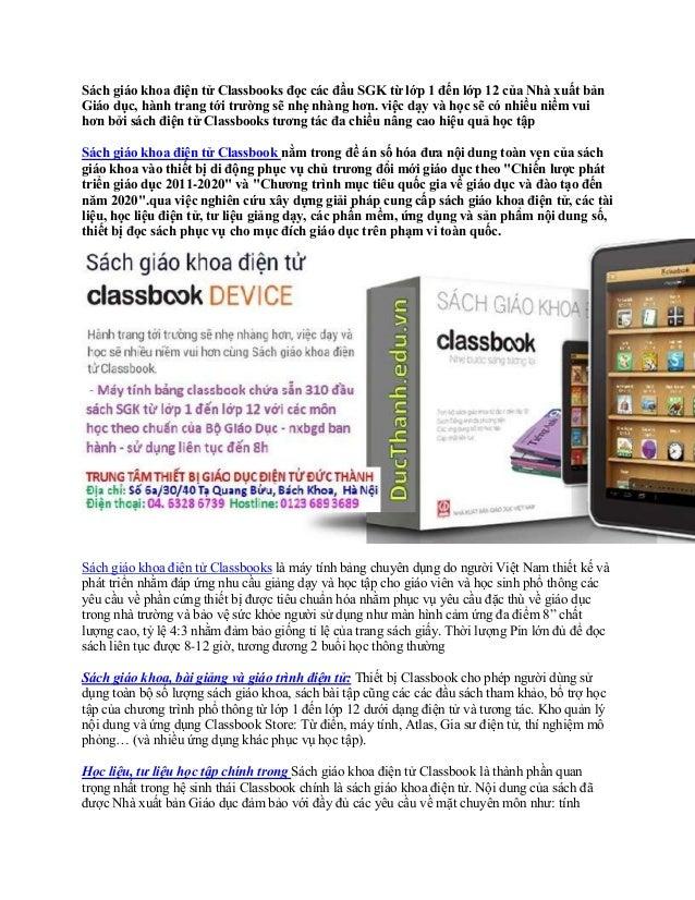 Sách giáo khoa điện tử Classbooks đọc các đầu SGK từ lớp 1 đến lớp 12 của Nhà xuất bản Giáo dục, hành trang tới trường sẽ ...