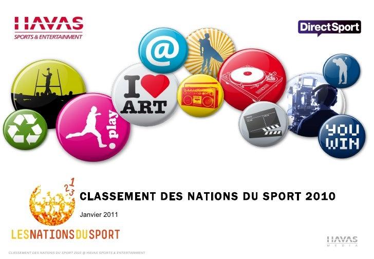 CLASSEMENT DES NATIONS DU SPORT 2010 Janvier 2011