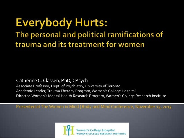 WOMEN IN MIND KEYNOTE: Everybody Hurts: The personal and political ramifications of trauma and its treatment for women.""