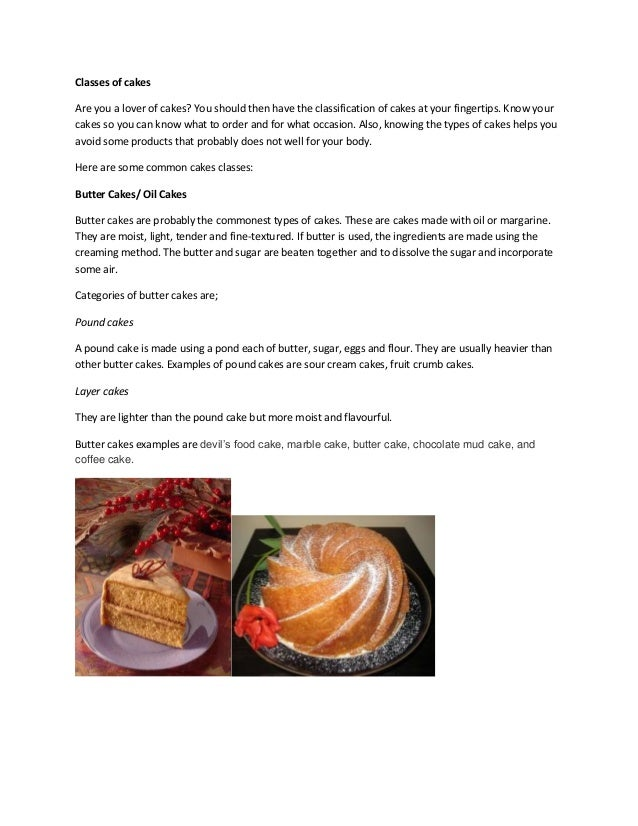 Types of Cakes, Butter Cakes, Sponge Cakes and More