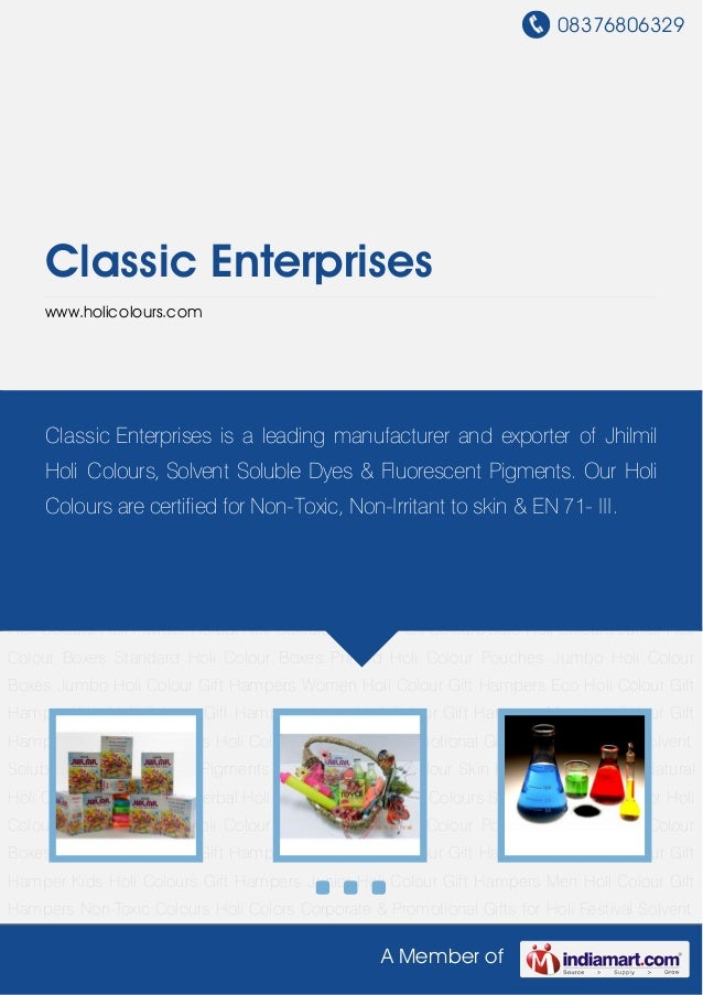 Solvent Soluble Dyes by Classic enterprises