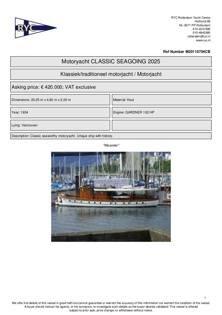 RYC offers this classic motoryacht 2025 seagoing. Suitable for charter. FOR SALE