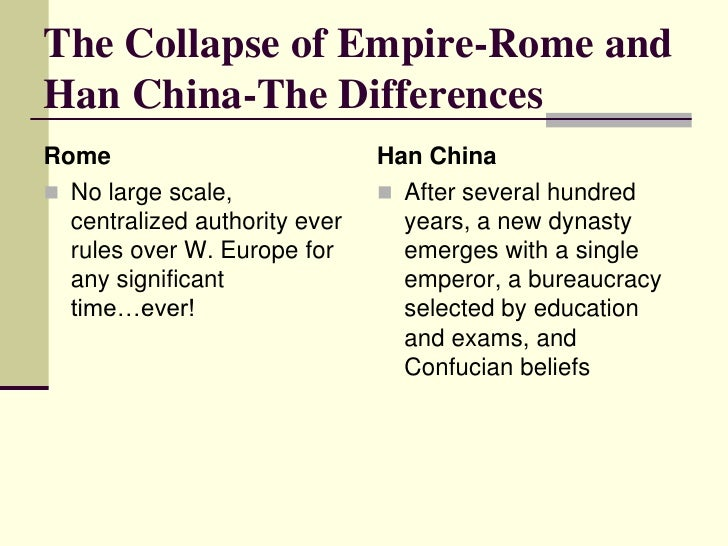 compare rome and han china at Compare and contrast the fall of the han dynasty with the fall of the roman empireduring the late classical period (200-600 ce), all the great empires collapsed the collapse of the empires did not happen abruptly but was a process.