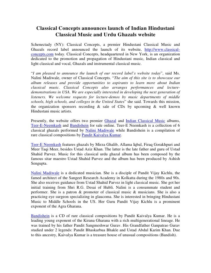 Classical Concepts announces launch of Indian Hindustani            Classical Music and Urdu Ghazals website Schenectady (...