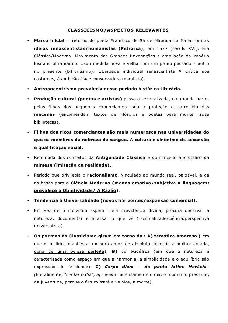 CLASSICISMO/ASPECTOS RELEVANTES•   Marco inicial = retorno do poeta Francisco de Sá de Miranda da Itália com as    ideias ...