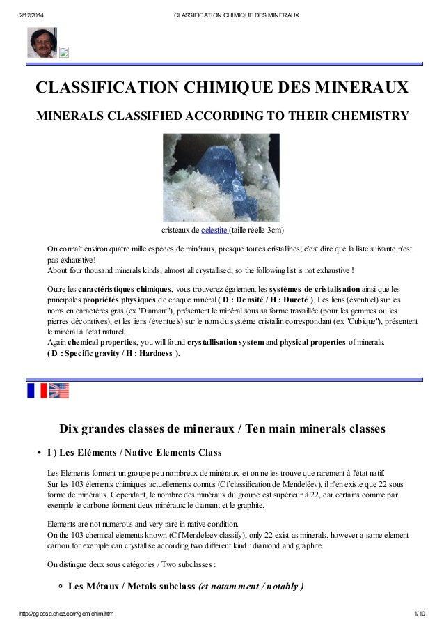 2/12/2014 CLASSIFICATION CHIMIQUE DES MINERAUX http://pgosse.chez.com/gem/chim.htm 1/10 CLASSIFICATION CHIMIQUE DES MINERA...