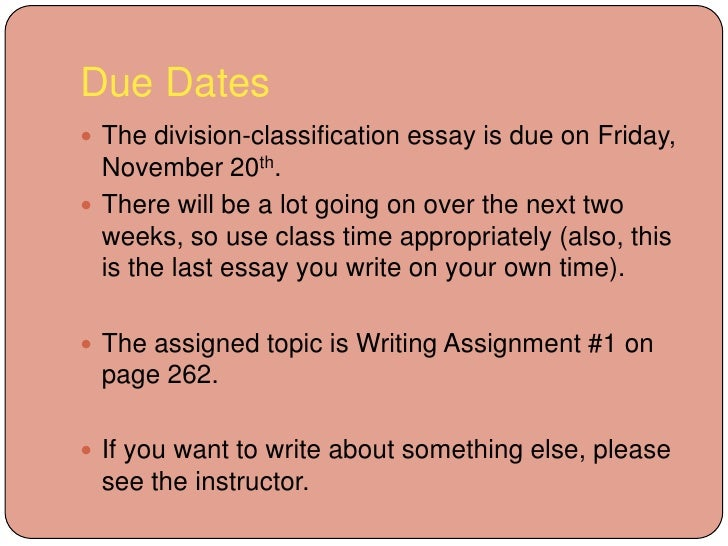 division and classification essay examples Writing a classification paper classification is sorting things into groups or categories on a single basis of division a classification classification essay.