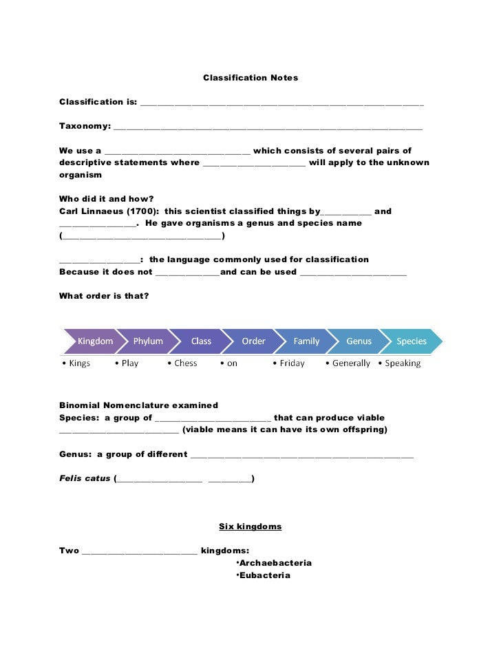 Classification notes blank
