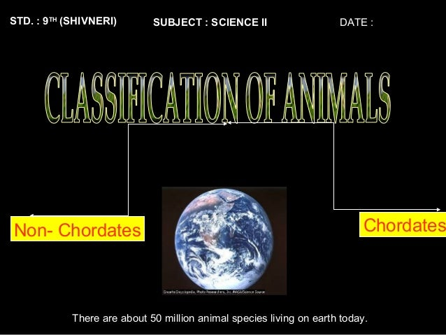 STD. : 9TH (SHIVNERI) SUBJECT : SCIENCE II DATE : There are about 50 million animal species living on earth today. Non- Ch...