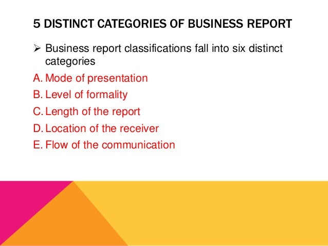Kinds of business report