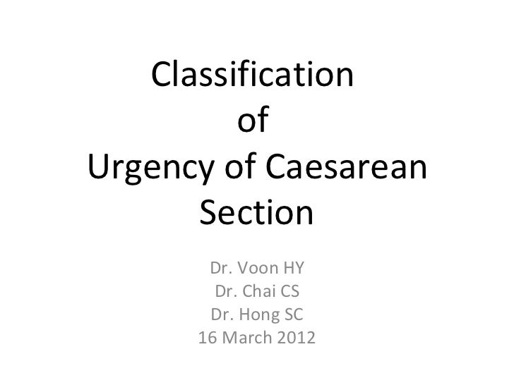 Classification         ofUrgency of Caesarean      Section       Dr. Voon HY        Dr. Chai CS       Dr. Hong SC      16 ...