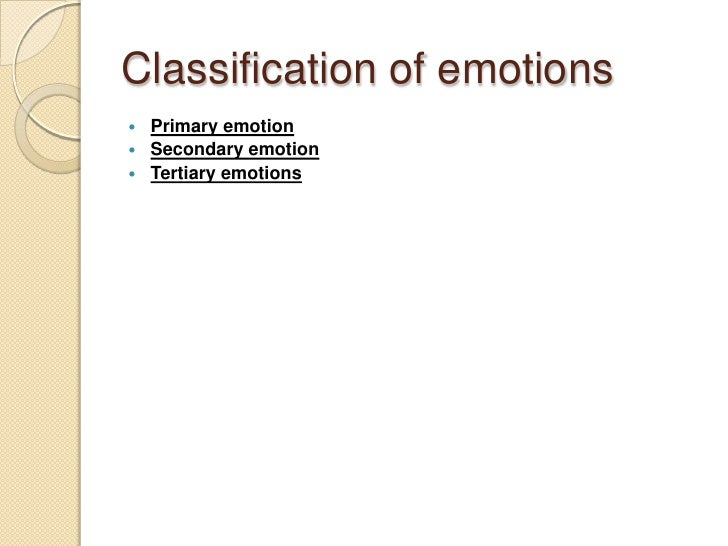 Classification of emotions  Primary emotion  Secondary emotion  Tertiary emotions