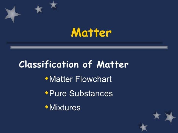 Matter <ul><li>Classification of Matter </li></ul><ul><ul><li>Matter Flowchart </li></ul></ul><ul><ul><li>Pure Substances ...