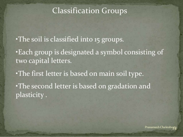 Classification of soil for Soil 5 letters