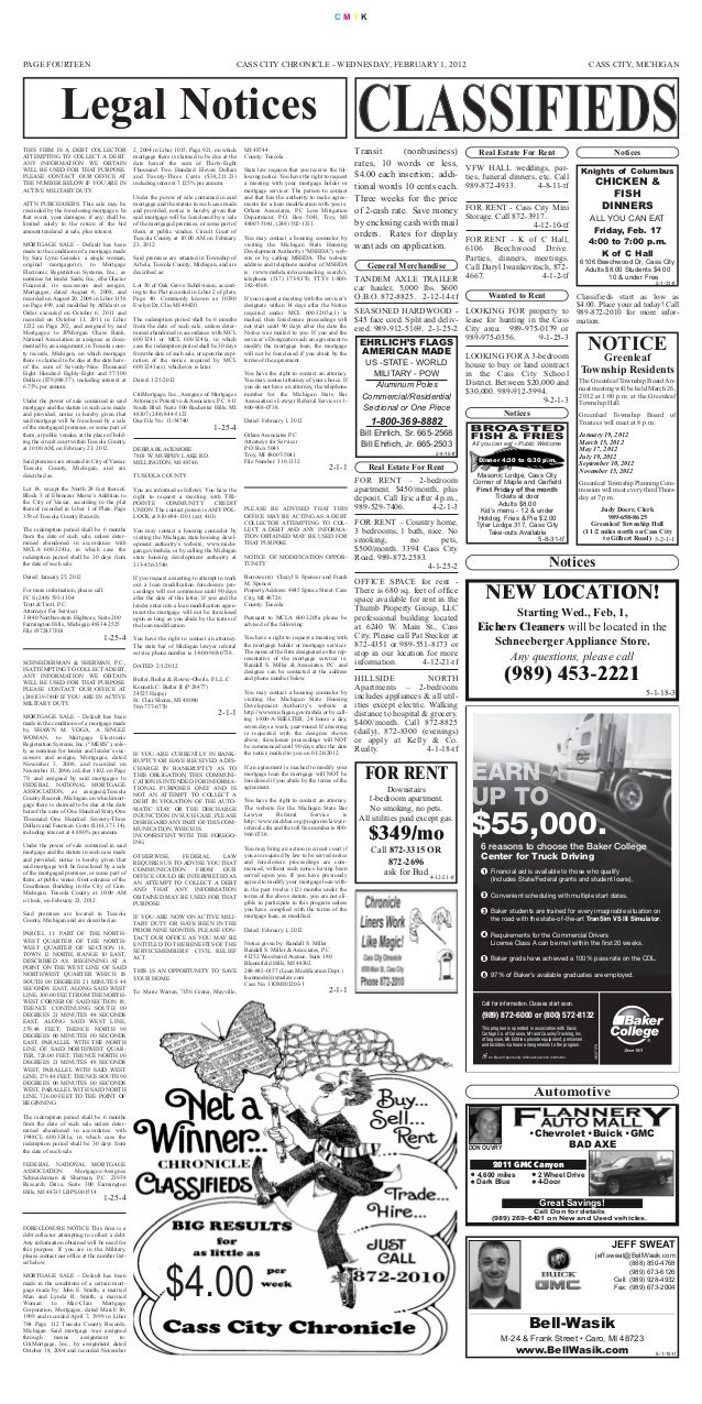 $4.00 Notices PAGE FOURTEEN CASS CITY, MICHIGAN C M Y K CASS CITY CHRONICLE - WEDNESDAY, FEBRUARY 1, 2012 Legal Notices No...
