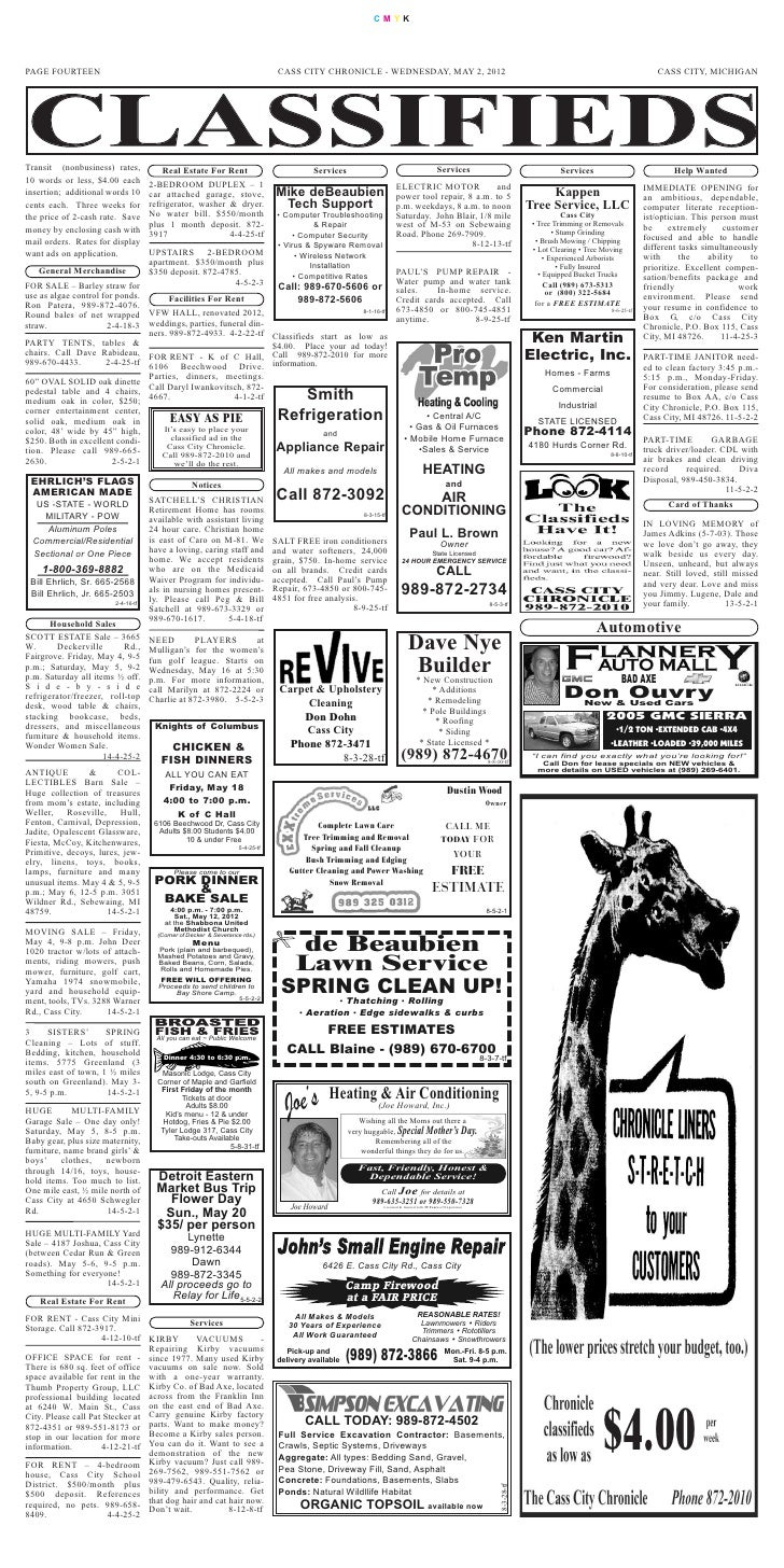 CMYKPAGE FOURTEEN                                                                   CASS CITY CHRONICLE - WEDNESDAY, MAY 2...