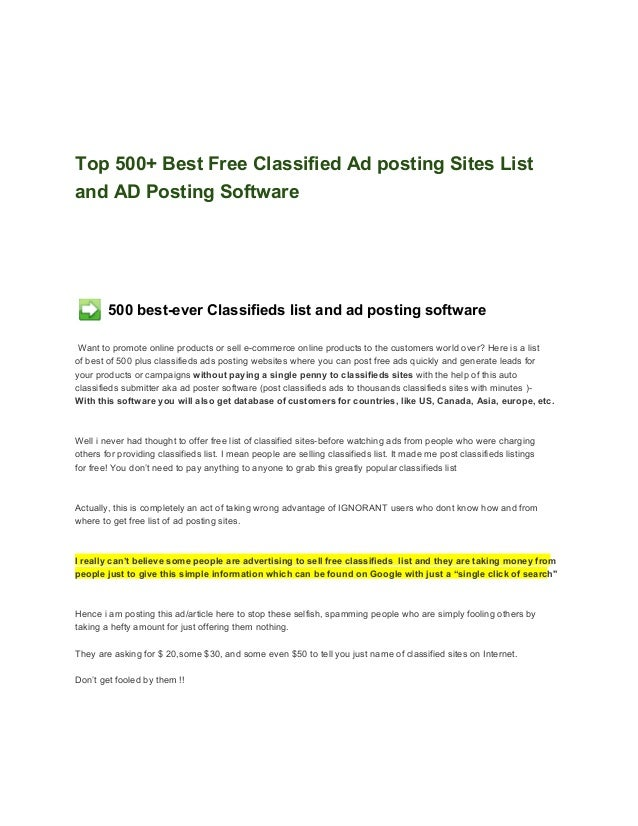 Top 500+ Best Free Classified Ad posting Sites Listand AD Posting Software        500 best­ever Classifieds list and ad po...