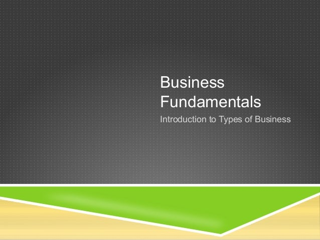 Business Fundamentals Introduction to Types of Business