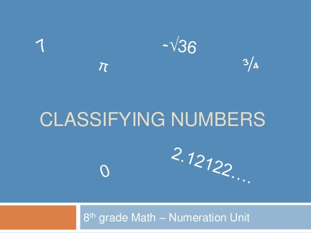 CLASSIFYING NUMBERS 8th grade Math – Numeration Unit