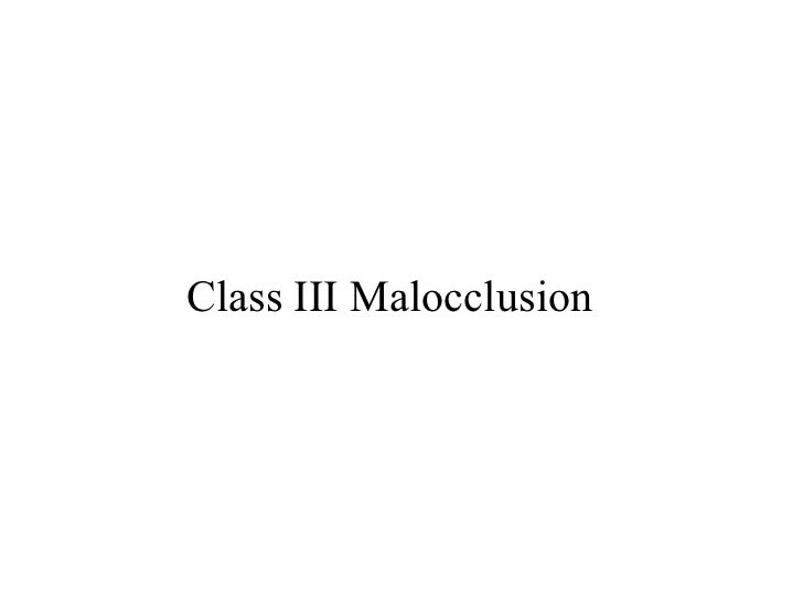 Class III Malocclusion
