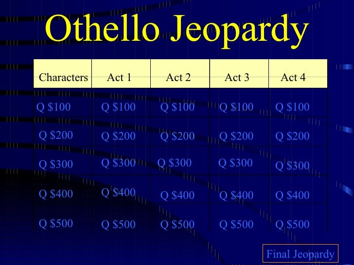 Othello Jeopardy Characters Act 1 Act 2 Act 3 Act 4 Q $100 Q $200 Q $300 Q $400 Q $500 Q $100 Q $100 Q $100 Q $100 Q $200 ...