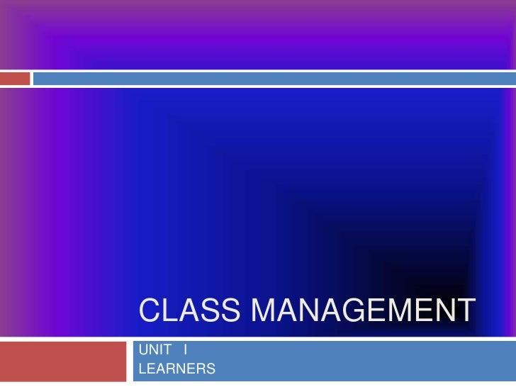 Class man. unit 1
